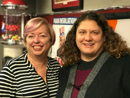 Mary McCarthy and Stephanie Rucinski after the Searching For The Right Career podcast recorded at a studio in Dublin, Ohio.