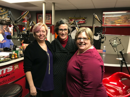 Mary McCarthy, Brigid Heid, and Sharon DeLay after the recording of the podcast, This Is How Sexual Harassment Can Destroy Your Business, at a studio in Dublin, Ohio.