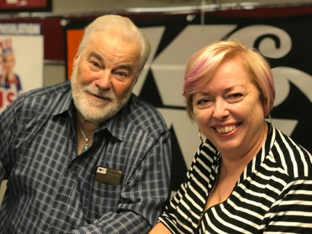 Mary McCarthy and Jim Rogers after they recorded their podcast on proposed changes to cosmetology school requirements in Ohio at a studio in Dublin, Ohio.