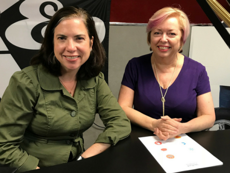 Mary McCarthy and Kerri Mollard after recording the Get Creative with Benefits to Hire Top Talent podcast at a studio in Dublin, Ohio.