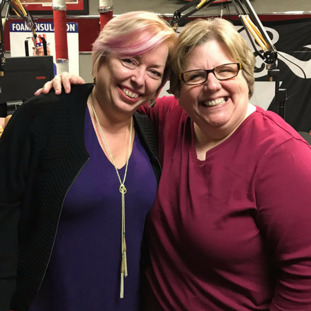 "Mary McCarthy and Sharon DeLay after the ""Benefits Millennials Really Want (and you need to offer!)"" podcast recorded at a studio in Dublin, Ohio."