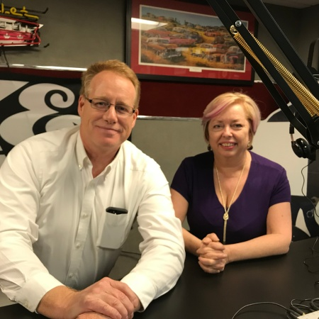 Mary McCarthy and Scot W. Hardin after the recording of the podcast, 10 of the Best Free Resources for Microbusiness Owners, at a studio in Dublin, Ohio.