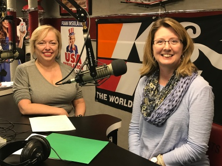 Mary McCarthy and Laura Stimmel of Liberty National Bank at a podcast recording for The Successful Micropreneur podcast