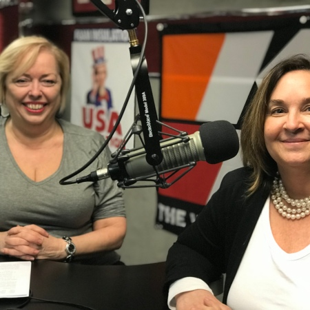 Mary McCarthy and Susan Fortner after the recording of the podcast, 3 Keys To Creating A Successful Event For Your Business, at a studio in Dublin, Ohio.