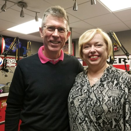 Mary McCarthy and Jeff Lacy with FocusCFO after recording the podcast, The Keys To Running A Healthy Business at a studio in Dublin, Ohio.