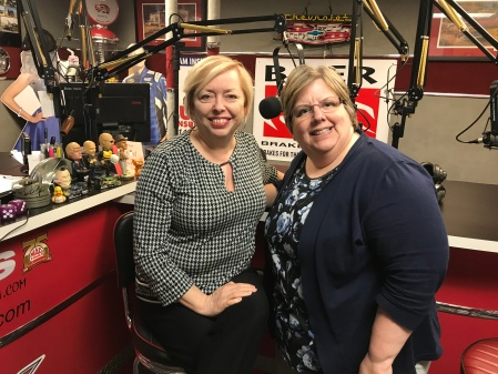 Mary McCarthy and Sharon DeLay after recording the podcast, Are Chronically Late Entrepreneurs More Successful? at a studio in Dublin, Ohio.