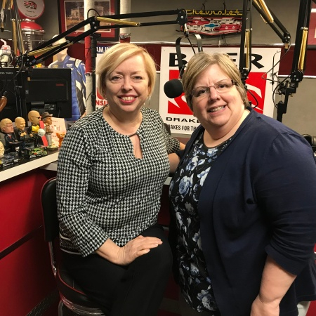 Mary McCarthy and Sharon DeLay recording the podcast episode, Questioning Yourself As An Entrepreneur at a studio in Dublin, Ohio.